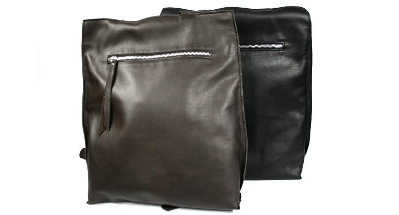 Mochila para hombre en piel muy ligera en negro o marrón