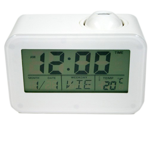 Reloj despertador digital con calendario y termómetro y con proyector de la hora
