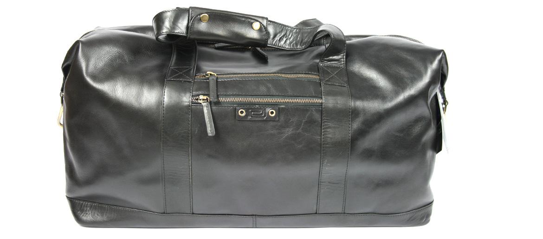 Bolsa de viaje en piel negra con herrajes en bronce - comprar online precio 259€ euros