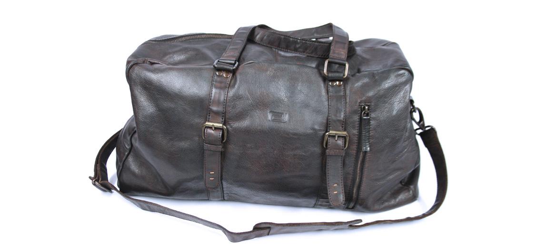 Bolsa de viaje en piel envejecida color marrón - comprar online precio 238€ euros
