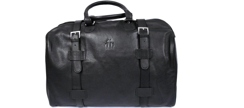 Bolsa de viaje tipo diligencia en piel negra - Comprar Precio 234€ euros