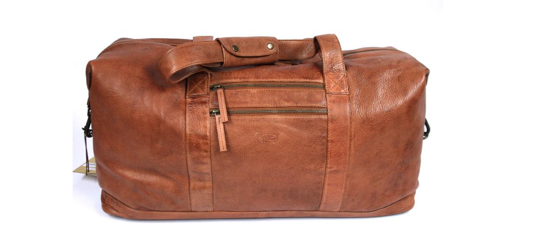 Bolsa viaje de piel envejecida color habana - comprar online precio 195€ euros