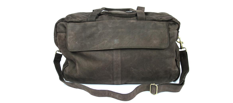 Bolsa de viaje ligera de piel serraje marrón - comprar online precio 235€ euros