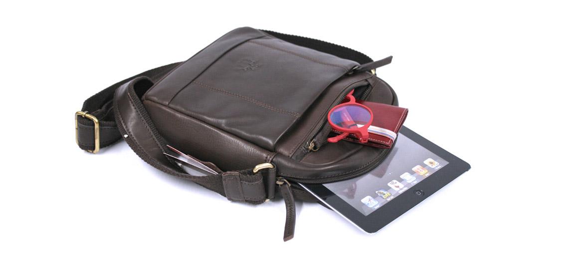 Bolso bandolera hombre de piel marrón - comprar online precio 106€ euros