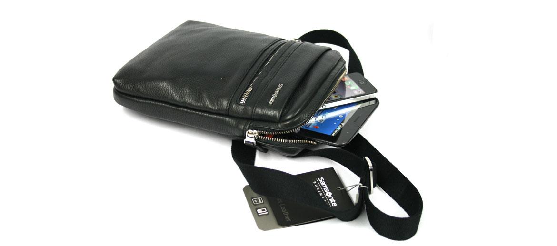 Bolso bandolera de piel negra marca Samsonite - comprar online precio 140€ euros