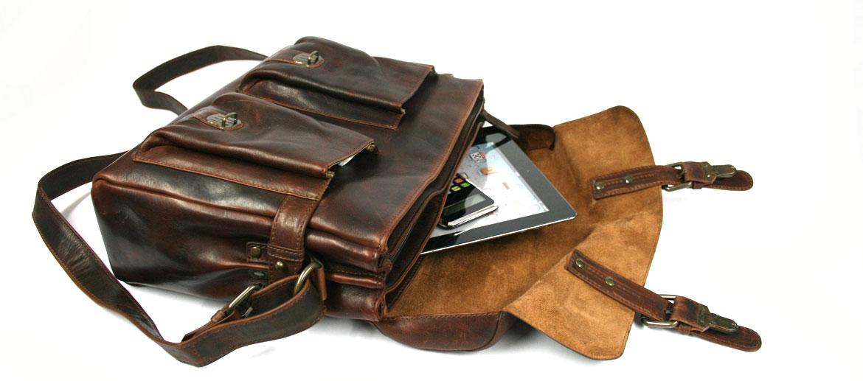 Bolso bandolera tipo messenger piel envejecida color marrón - comprar online precio 180€ euros