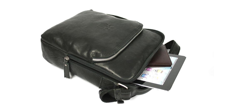 Bolso bandolera de piel color negro para Ipad o tableta - comprar online precio 132€ euros