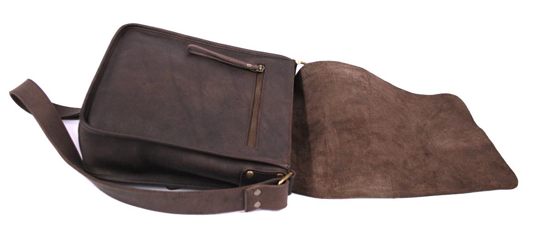 Bolso hombre de piel marrón con solapa - comprar online precio 130€ euros
