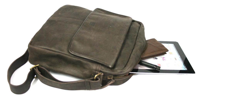 Bolso bandolera piel marrón para el Ipad o tableta - comprar online precio 123€ euros