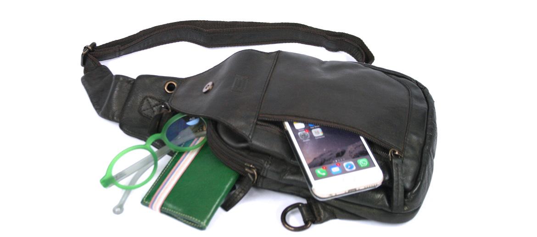 Bolso de pecho en piel envejecida color marrón - comprar online precio 85€ euros