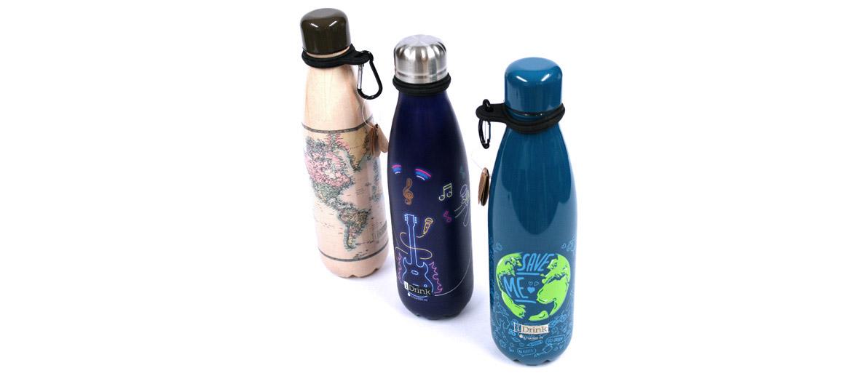 Botella termo de acero inoxidable con mosquetón para engancharla ¡perfecta! para el trabajo o excursiones - comprar online precio 24€ euros