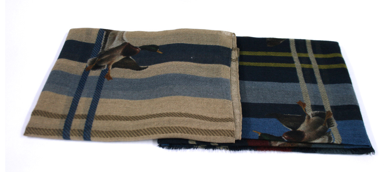 Bufanda foulard de lana fina motivo pájaros - comprar online precio 75€ euros