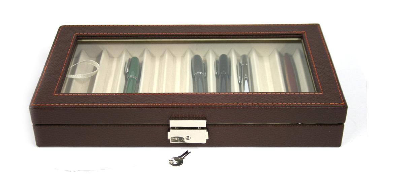 caja-comprar-para-12-plumas-o-boligrafos-de-simil-piel-color-marron-despacho-hombre
