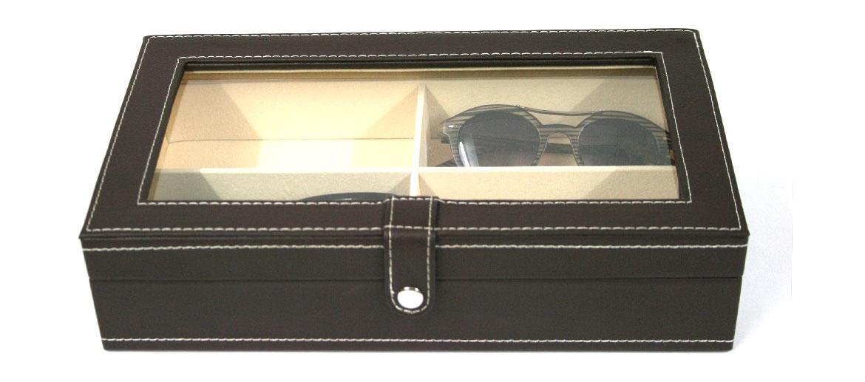 Caja para guardar gafas de polipiel marrón - comprar online precio 49€ euros