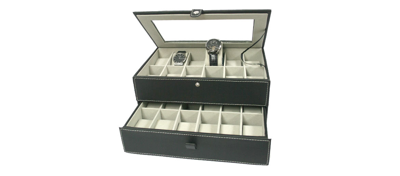 Caja relojero color negro para guardar 24 relojes  - comprar online precio 70€ euros