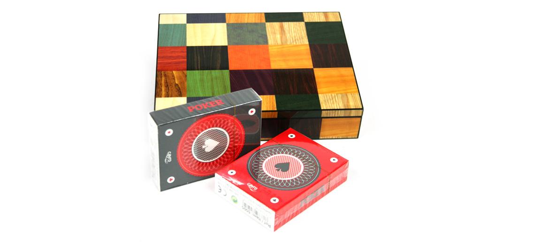 Caja decorativa de juego con dos barajas - comprar online precio 47€ euros