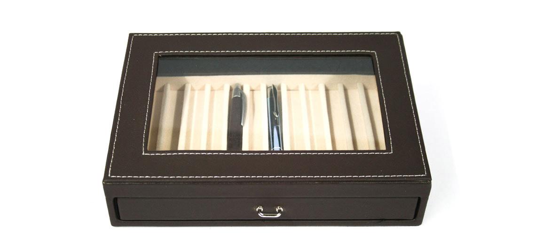 Caja para plumas y bolígrafos 12 unidades color marrón - comprar online precio 28€ euros