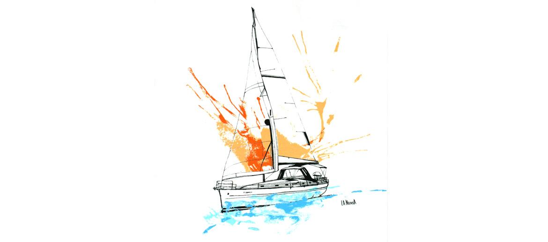 Camiseta de algodón con dibujo de velero para el verano - comprar online precio 25€ euros