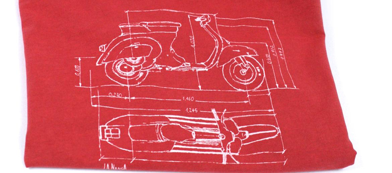 Camiseta con dibujo de plano de tu moto Vespa - comprar online precio 25€ euros