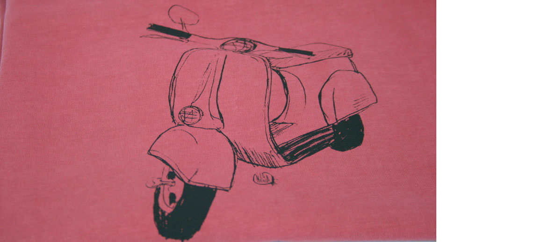 Camiseta para el verano con dibujo moto Vespa - comprar online precio 25€ euros