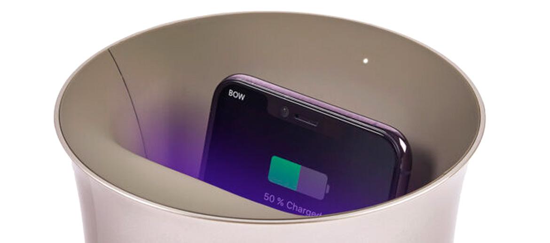 Cargador inalambrico y limpiador de bacterias de tu móvil color dorado - comprar online precio 79€ euros