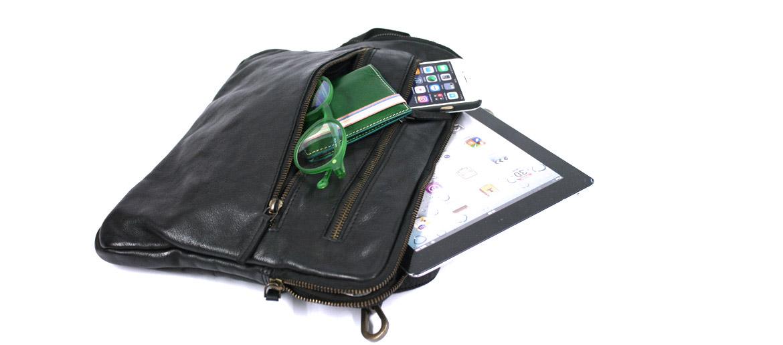 Carpeta portafolios porta Ipad de piel envejecida color negro - comprar online precio 99€ euros