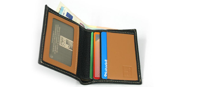 Cartera billetero de piel negra con protección de RFID marca el Potro - comprar online precio 36€ euros
