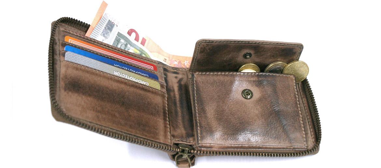 Cartera billetero monedero con cremallera con aspecto de piel envejecida - comprar online precio 39€ euros