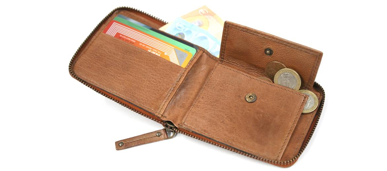 Cartera billetera monedero con cremallera con aspecto de piel envejecida - comprar online Solohombre