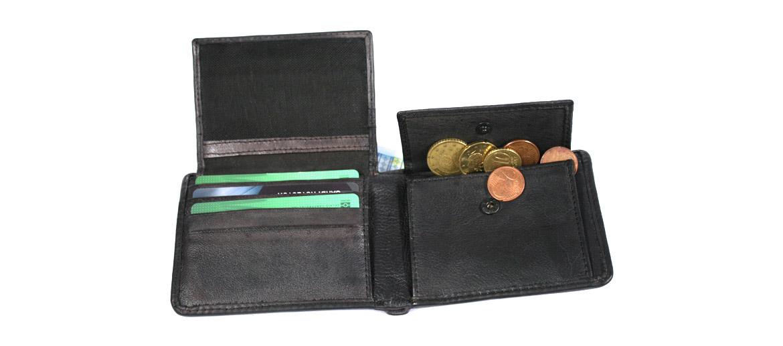 Cartera billetero tarjetero con monedero de piel envejecida - comprar online precio 35€ euros