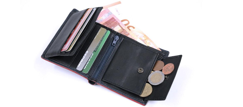 Cartera billetero tarjetero con monedero de piel color azul y cierre con goma - comprar online precio 35€ euros