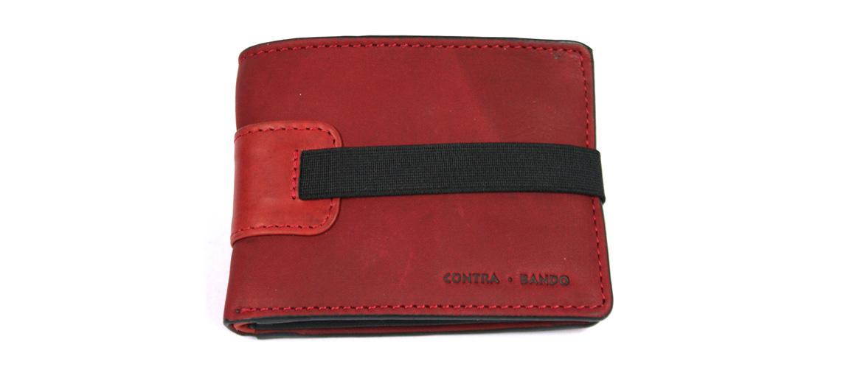 Cartera billetero tarjetero con monedero de piel color rojo con cierre de goma - comprar online precio 32€ euros