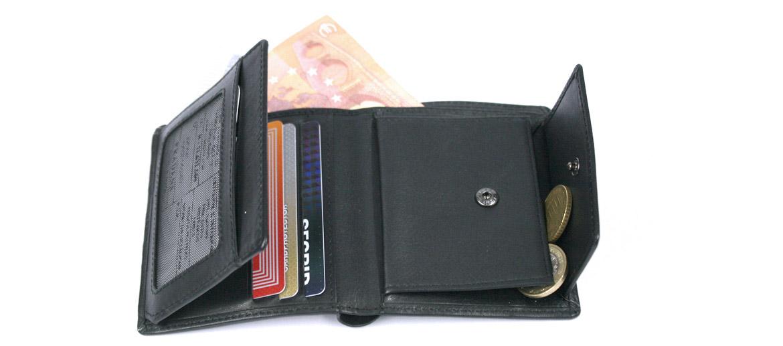 Cartera billetero, tarjetero, con monedero color negro - comprar online precio 39€ euros