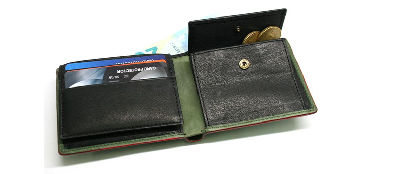 Cartera billetero tarjetero con monedero de piel color verde - comprar online precio 32€ euros