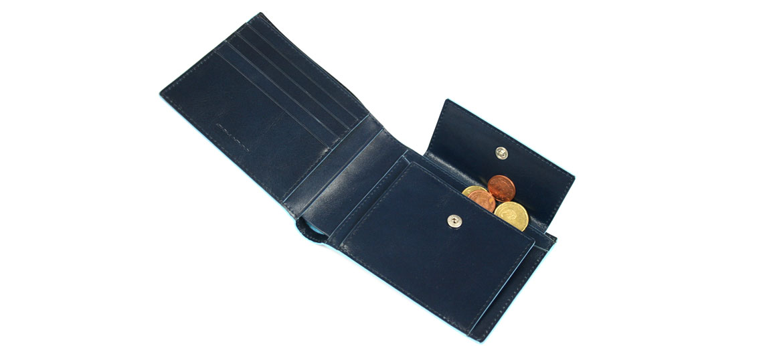 Cartera billetero tarjetero con monedero marca Piquadro - comprar online precio 98€ euros