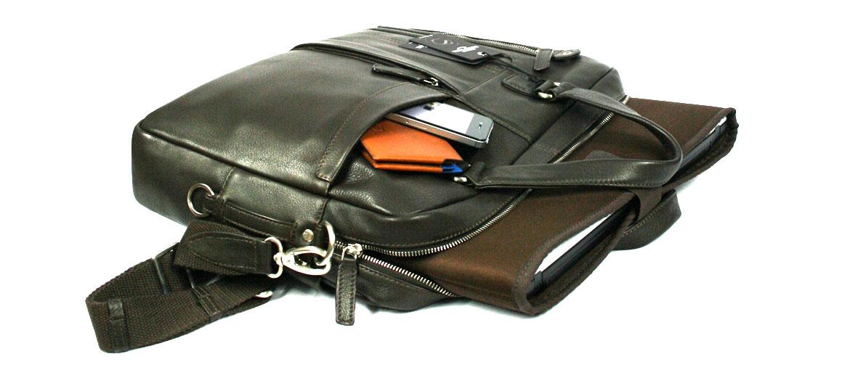 Cartera porta documentos dos asas de piel marrón - comprar online precio 178€ euros
