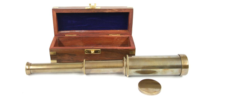 Catalejo inspiración marinera con caja replica antigua - comprar online precio 59€ euros