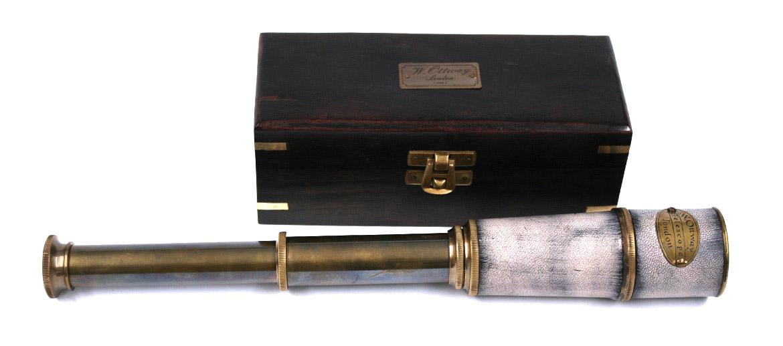 Catalejo con piel con caja de madera replica antigua - comprar online precio 69€ euros