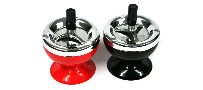 Cenicero metal con colillas invisibles color rojo o negro - comprar online precio 15€ euros