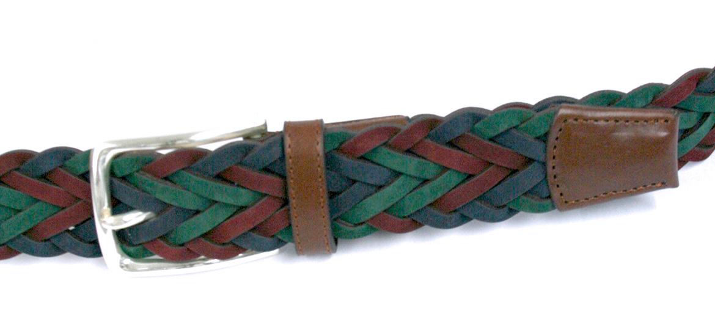 Cinturón de piel Nobuck trenzado color verde, azul y granate - comprar online precio 79€ euros