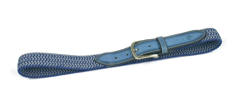 Cinturón elástico color azul y gris con punteras de piel - comprar online precio 48€ euros