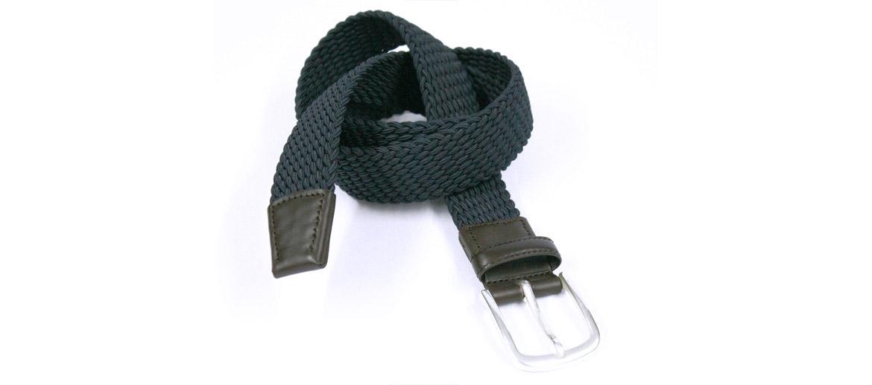 Cinturón elástico de algodón color azul con detalles en piel - comprar online precio 47€ euros
