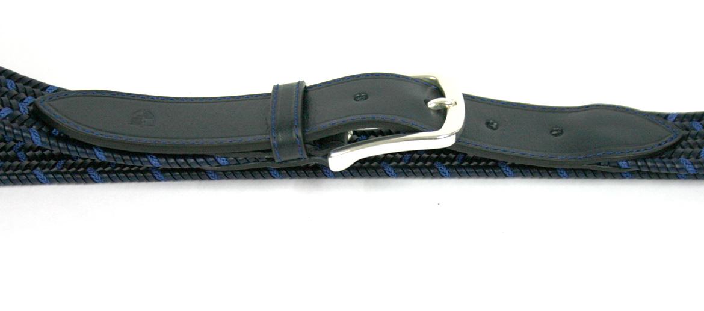 Cinturón elástico trenzado azul y negro marca Solohombre - comprar online precio 48€ euros