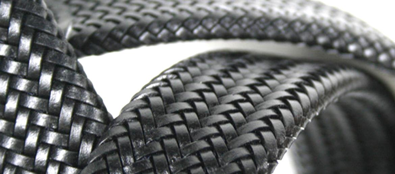 Cinturón elástico trenzado en piel negra para hombre - comprar online precio 49€ euros