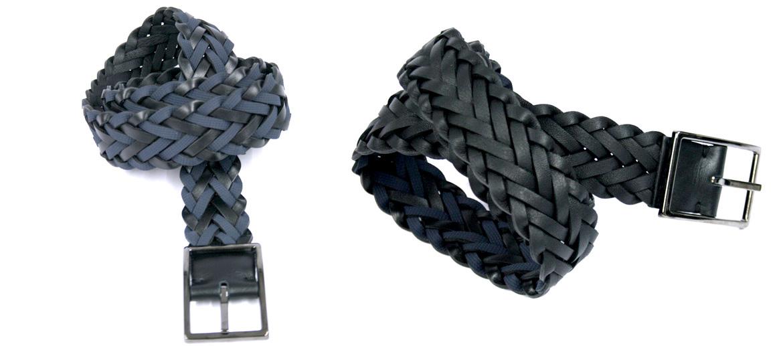Cinturón reversible trenzado negro o color azul y negro marca Solohombre - comprar online precio 72€ euros