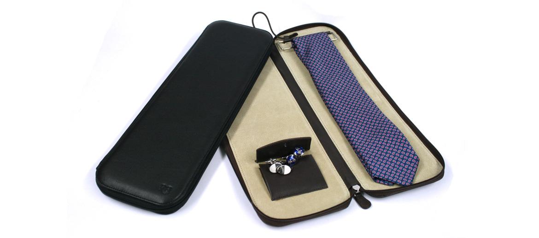 Corbatero de viaje en piel con bolsillo para gemelos - comprar online Precio 115€ euros