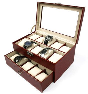 Caja relojero color negro para guardar 20 relojes color marrón - comprar online precio 87€ euros