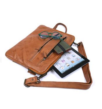 Carpeta portafolios porta Ipad de piel envejecida color habana - comprar online precio 99€ euros