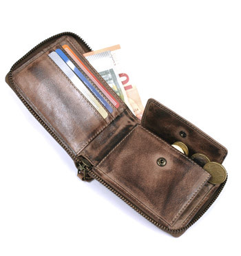 Cartera billetera monedero con cremallera con aspecto de piel envejecida - comprar online precio 39€ euros