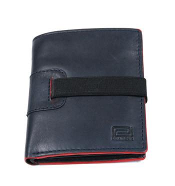 Cartera billetera tarjetero con monedero de piel color azul y cierre con goma - comprar online precio 35€ euros